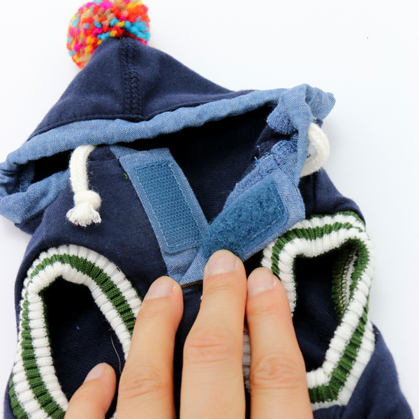 【PET PARADISE 寵物精品】SNOOPY 史奴比彩色球球連帽上衣/藍 (L) 狗衣服 寵物衣服