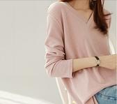 大碼衣著長袖上衣V領T恤素面M-4XL中大尺碼秋裝純色寬鬆打底衫體恤上衣NE06A.6091依品國際