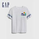 Gap 男童 創意風格圓領短袖T恤 573667-白色