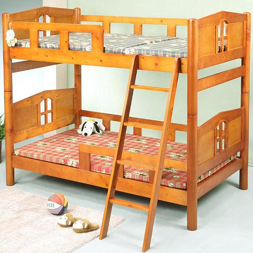 《嘉事美》實木 小木屋3.5呎雙層床/ 單人床 電腦桌 立鏡 斗櫃