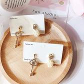 耳環 簡約 鏤空 愛心 鑰匙 愛心鎖 不對稱 珍珠 耳釘 耳環【DD1903141】 icoca  05/09