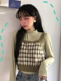 外穿背心 秋季正韓套裝格子針織毛衣外搭背心小吊帶 T恤【免運直出】
