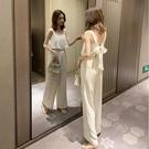 套裝 夏裝2021新款繫帶蝴蝶結吊帶連衣褲子女揹帶寬管褲套裝雪紡連體褲