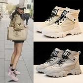 馬丁靴馬丁靴女新款秋季厚底網紅帆布短靴女英倫風機車靴子鞋潮 伊羅鞋包