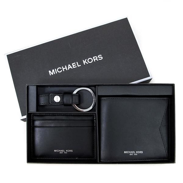 MICHAEL KORS GIFTING燙銀LOGO牛皮短夾名片夾鎖圈禮盒組(黑)-36U9LGFF4O
