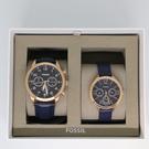 【蟹老闆】FOSSIL 深藍皮革 對錶組...