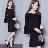 【韓國KW】(預購) M~XL奢華時尚寛袖蕾絲洋裝