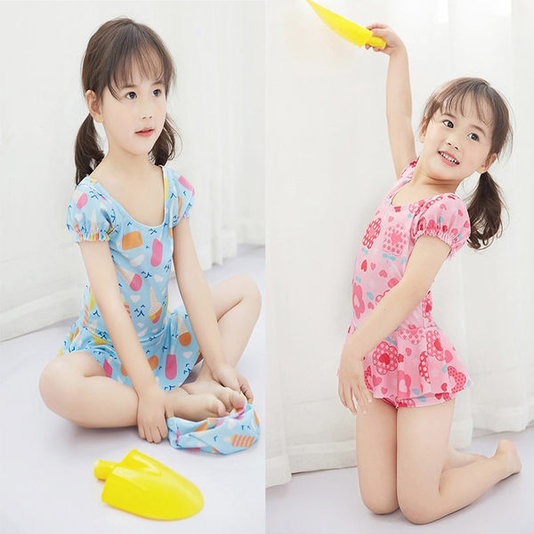 女童 清新連身裙泳裝 附泳帽 y7053