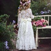 秋季童裙女童蕾絲蝴蝶機連身裙長袖公主裙