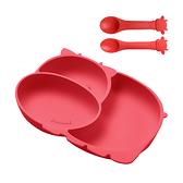 寶寶餐具 矽膠分隔餐盤附湯匙組 分隔盤 吸盤式分隔碗 湯匙-JoyBaby