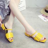 穆勒女鞋涼拖鞋女夏時尚外穿原宿百搭兩穿穆勒鞋中跟女鞋 貝兒鞋櫃