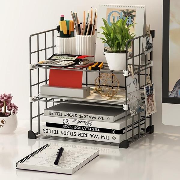 簡易書架多層鐵藝雜物整理小架子桌面收納置物架辦公室學生室宿舍 嬡孕哺