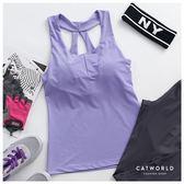 Catworld 紫色魔力。T字鏤空美背運動BRA背心【11601876】‧S-2XL