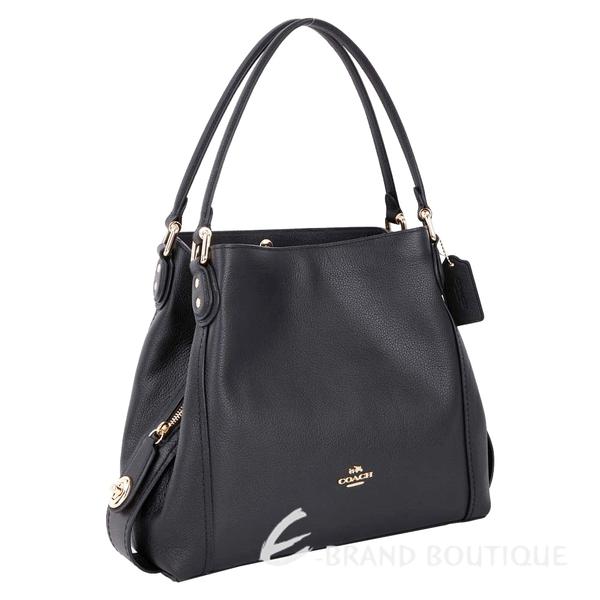 COACH Edie Bag 31 荔紋牛皮三夾層梯型肩背包(黑色) 1740090-01