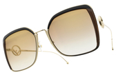 FENDI太陽眼鏡 FF0294S 09QJL (金-黃淺漸層棕鏡片) 貴氣淑女設計款 # 金橘眼鏡