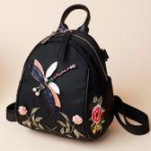 2019新款小包包牛津布雙肩包女韓版時尚百搭個性刺繡女士背包繡花