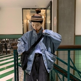 牛仔外套 秋裝韓版新款寬鬆原宿風大口袋ins網紅立領長袖女裝 - 歐美韓熱銷