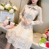 BabyShare時尚孕婦裝【JAN68065】現貨 日韓風格 透膚 高端品質 奶茶色蕾絲設計感連身裙有內襯