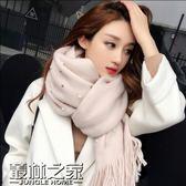 圍巾女韓國百搭針織毛線珍珠加厚韓版女士兩用長款披肩秋冬季