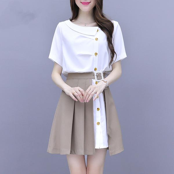 VK旗艦店 韓國風名媛氣質襯衫單排釦連身裙套裝短袖裙裝