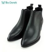 【Bo Derek 】率性造型鞋跟尖頭裸靴-黑