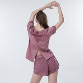 運動上衣 瑜伽服套裝女速乾衣薄款防走光短褲健身房運動跑步服寬鬆顯瘦夏季-Ballet朵朵