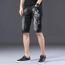 休閒短褲 銀龍刺繡五分牛仔短褲男中國風潮牌破洞個性彈力修身夏季薄款中褲