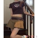 超短裙百摺半身裙女2021年夏季新款復古高腰A字裙設計感辣妹超短裙裙子 愛丫