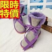 雪靴-羊皮毛一體時尚綁帶中筒女靴子8色64r12【巴黎精品】