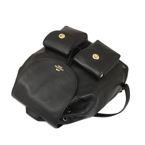 COACH 荔枝皮革雙口旋鈕大型後背包(黑色)