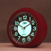 一件免運-康巴絲高級夜光靜音鬧鐘學生簡約臥室床頭鬧鐘電池辦公小清新鬧鐘