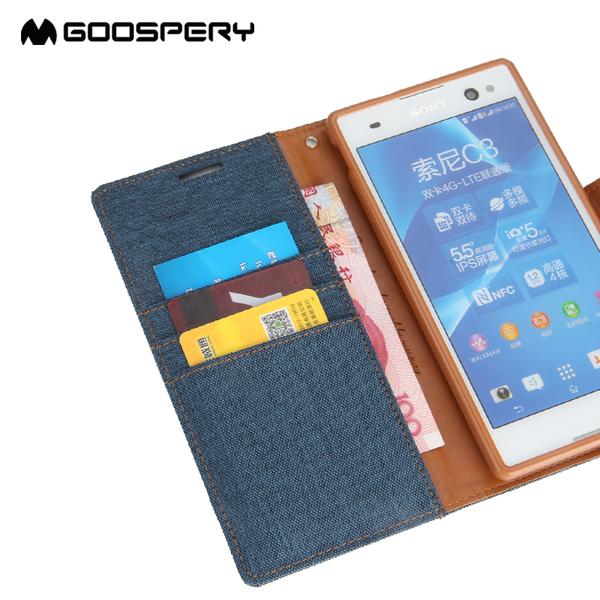 88柑仔店~韓國goospery索尼Xperia C3手機殼s55u s55t保護套帆布翻蓋皮套殼