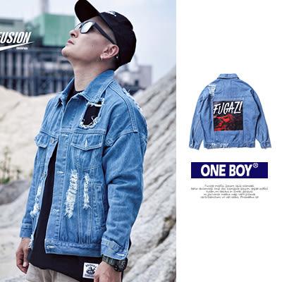 『 One Boy 』【N51914】潮流個性必備抓破水洗鈕扣復古牛仔外套