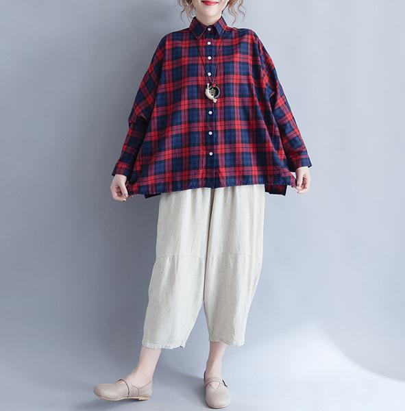 上衣 - A3218 學院風格紋蝙蝠袖襯衫【加大F】MEET中大尺碼