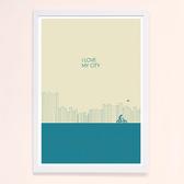 摩達客-西班牙知名插畫家Judy Kaufmann藝術創作海報掛畫 我愛我的城市(藍