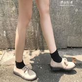 韓國英倫風牛津鞋女學生平跟圓頭一腳蹬女鞋厚底中跟單鞋 伊莎公主