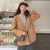 2019韓版女裝春季新款Chic寬鬆百搭長袖薄款學生開衫上衣休閒外套QM 莉卡嚴選