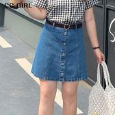 中大尺碼  牛仔A字排釦短裙(一片式) - 適XL~4L《 68420 》CC-GIRL