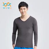 【WIWI】MIT溫灸刷毛V領發熱衣(銀河灰 男S-3XL)