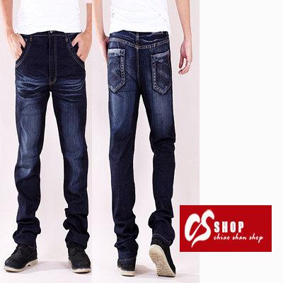 CS衣舖 加大尺碼 個性刷白 造型口袋 中直筒牛仔褲 7224