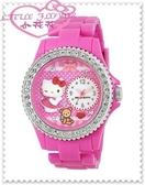 小花花日本精品♥Hello Kitty 日製 手錶 手表 女錶 淑女錶 浮雕軟陶 桃色鑽鑽小熊22014504