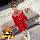 女童秋冬裝加厚連衣裙2018女孩唐裝新年裝女寶寶大紅色喜慶旗袍裙mandyc衣間