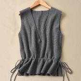 秋冬新針織女馬甲V領寬鬆羊毛背心短款系帶收腰外搭韓版坎肩無袖