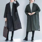 大尺碼外套 大碼女裝200斤毛呢外套中長款正韓冬季呢子大衣