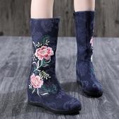 布單靴民族風繡花鞋 雙芙蓉提花棉廣場舞蹈鞋側拉鏈高筒媽媽靴春秋 超值價
