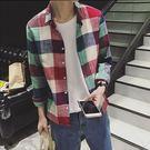 Mao  最新款日韓新品經典格子亞麻休閒長袖襯衫