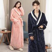 冬天情侶睡袍女加大碼胖mm寬鬆浴衣男士秋冬季浴袍加長款加厚睡衣