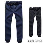 束口褲《Free Shop》【QM1373】日韓系潮流單寧車線彈力縮口褲束口褲牛仔長褲牛仔褲‧二色 有大尺碼