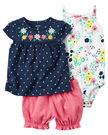 【美國Carter's】套裝三件組-點點小花系列上衣+包屁衣+泡泡短褲 121H115