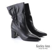 ★2019秋冬★Keeley Ann極簡魅力 全真皮柔軟粗跟短堆靴(黑色) -Ann系列